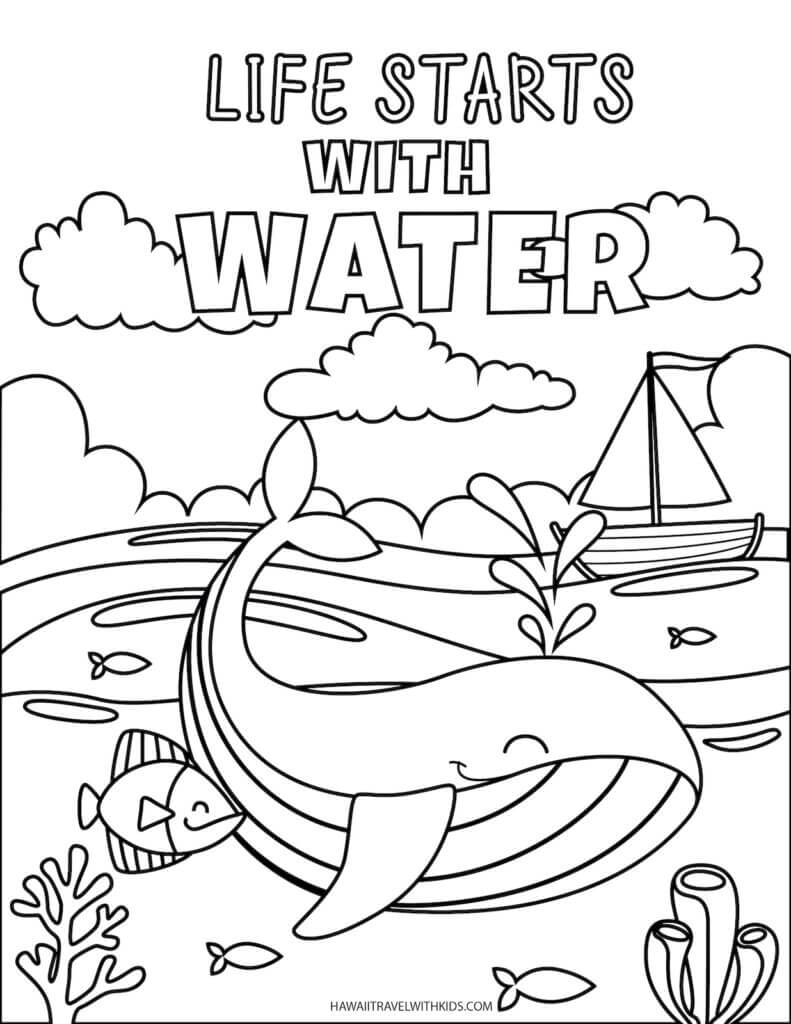 Get these free beach coloring pages by top Hawaii blog Hawaii Travel with Kids. Image of a coloring page with sea animals and text that reads life starts with water.