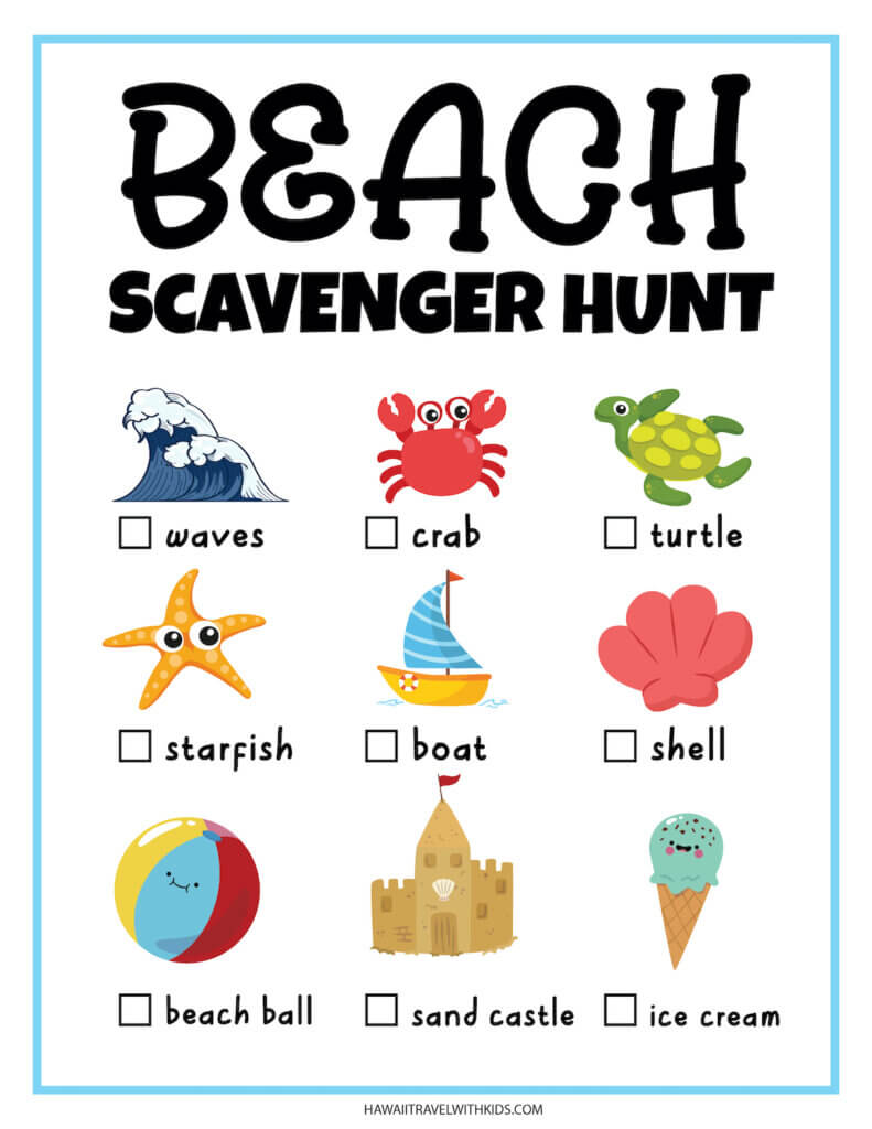 Get this free beach scavenger hunt printable by top Hawaii blog Hawaii Travel with Kids. Image of 9 colorful beach items with check boxes.