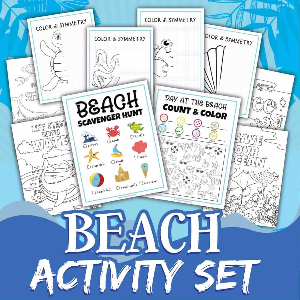 Get these awesome At the Beach Worksheets by top Hawaii blog Hawaii Travel with Kids. Image of a beach activity set on a blue background.