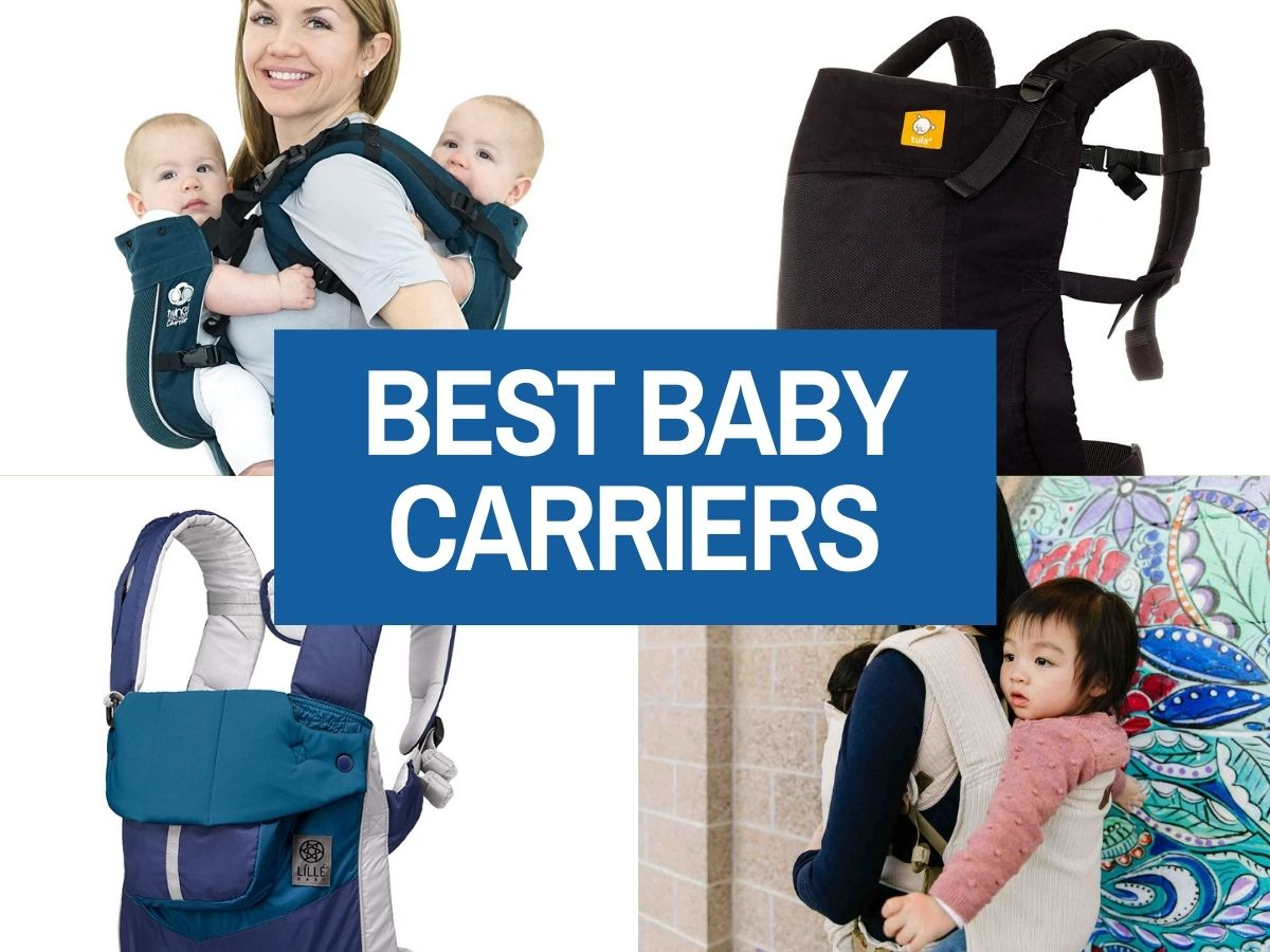 Find out the best baby carriers for hot weather by top Hawaii blog Hawaii Travel with Kids. Collage image of 4 baby carriers.