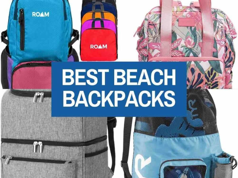 Find out the best beach backpacks for Hawaii by top Hawaii blog Hawaii Travel with Kids. Collage image of 4 backpacks for the beach.