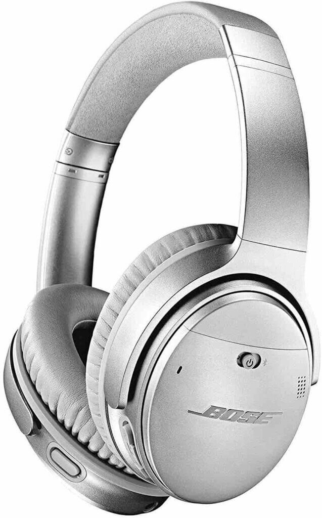 These Bose noise cancelling headphones are always on my Hawaii packing list. Image of silver headphones.