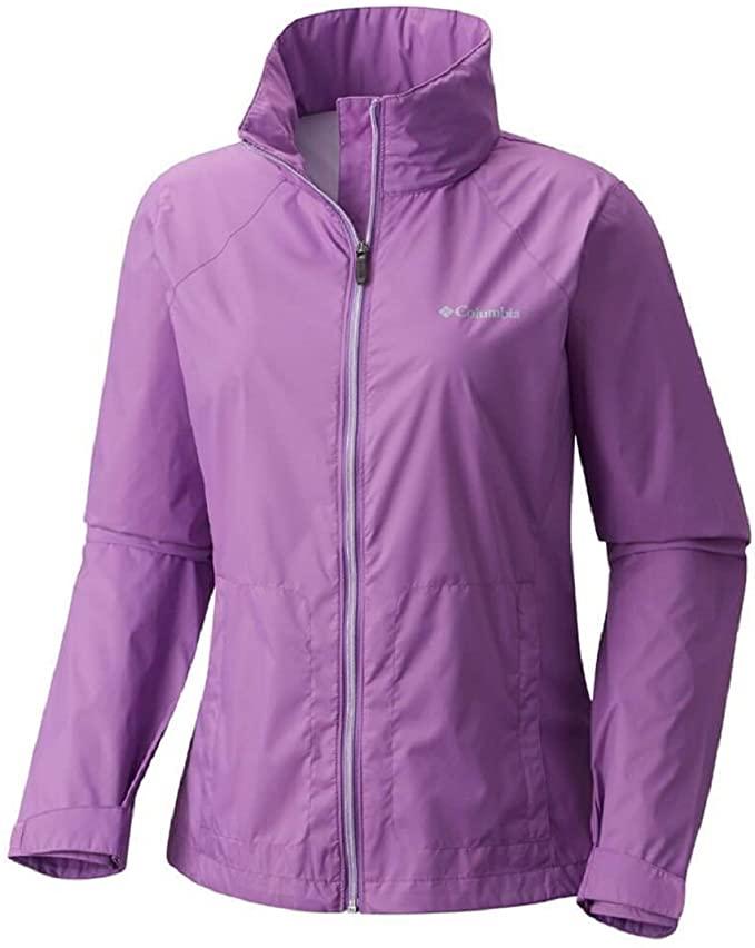 Wondering what to wear in Hawaii in winter? You'll definitely want a rain jacket. Image of a purple Columbia women's rain jacket.