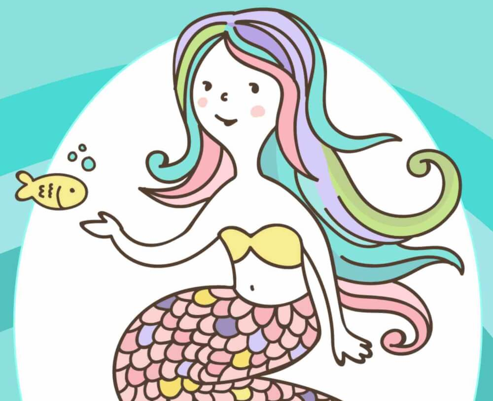 Get these free mermaid printables by top Hawaii blog Hawaii Travel with Kids. Image of a mermaid with rainbow colored hair.