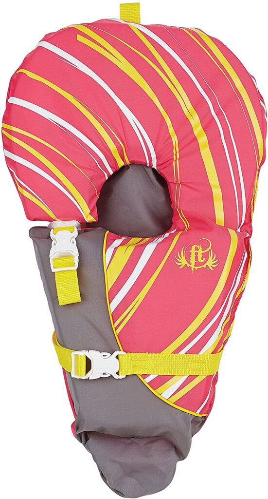 This Full Throttle infant life vest is a great choice for little kids. Image of a yellow and pink life vest for babies.