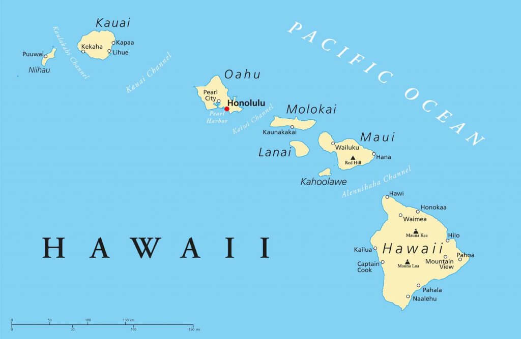 One of the coolest Hawaii fun facts is that it's actually the second widest state. Image is a Hawaii state map.