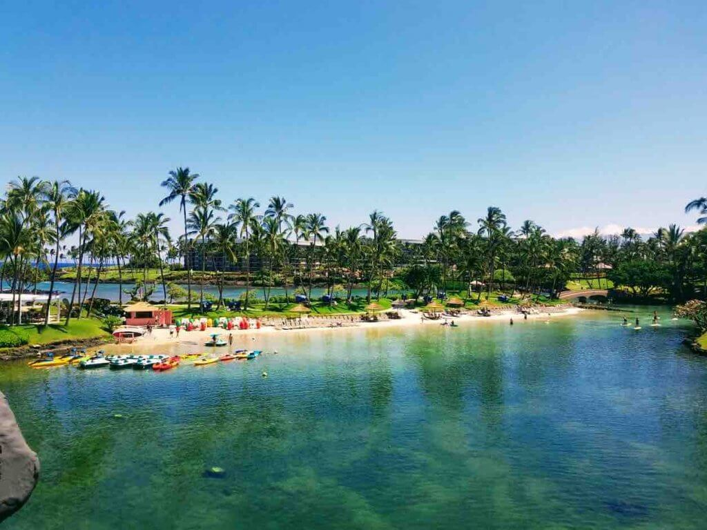 The Hilton Waikoloa Village is one of the best Hawaii family resorts. Image of the lagoons at the Hilton Waikoloa Village on the Big Island.