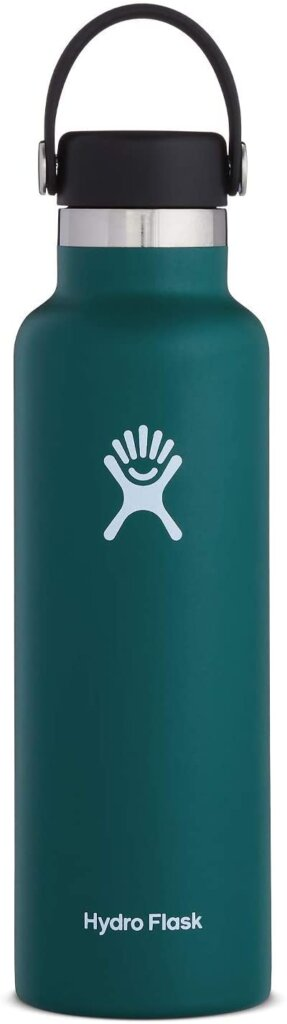 We always bring a couple Hydro Flask water bottles on the flight to Hawaii. Image of a green Hydro Flask.