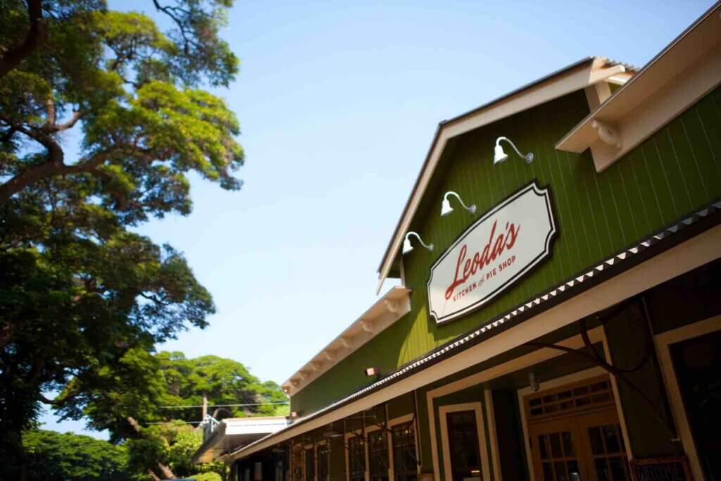 Leoda's Kitchen and Pie Shop is one of the best breakfast places in Maui. Image of the Leoda's sign on a green building.