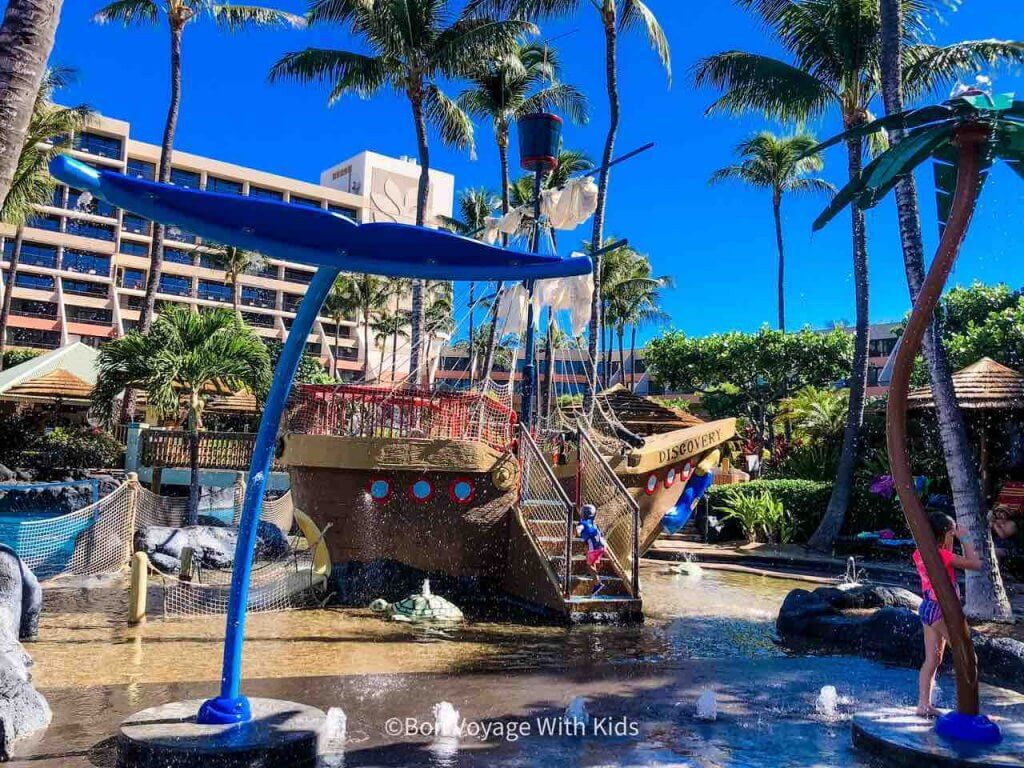 The Marriott Maui Ocean Club is one of the best kid friendly hotels in Maui. Image of the kids water play area at the Marriott Maui Ocean Club.