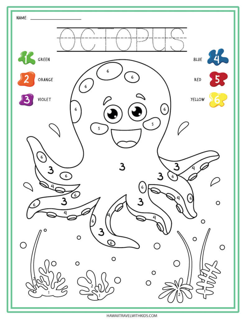 Get this Sea Animal Worksheet from top Hawaii blog Hawaii Travel with Kids. Image of an octopus worksheet where you color by number.