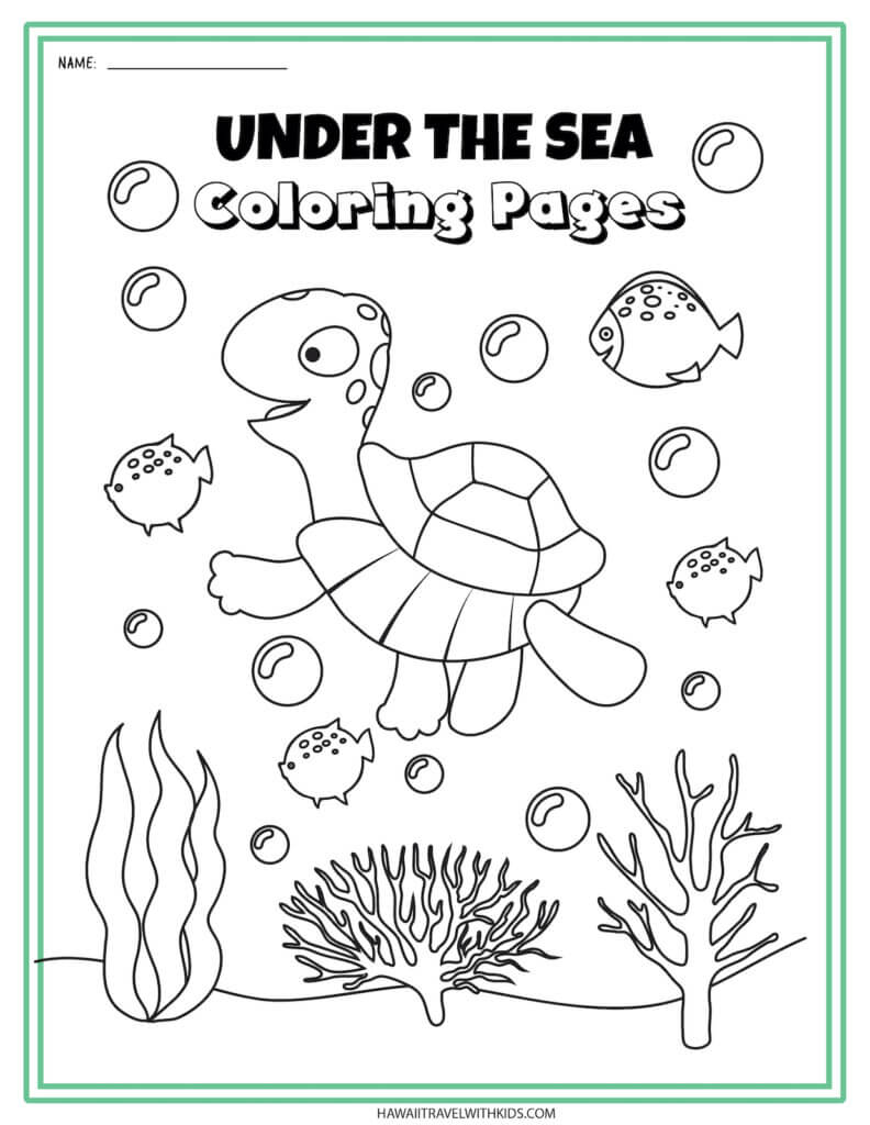 Get this sea turtle coloring page by top Hawaii blog Hawaii Travel with Kids. Image of a sea turtle swimming in the ocean.