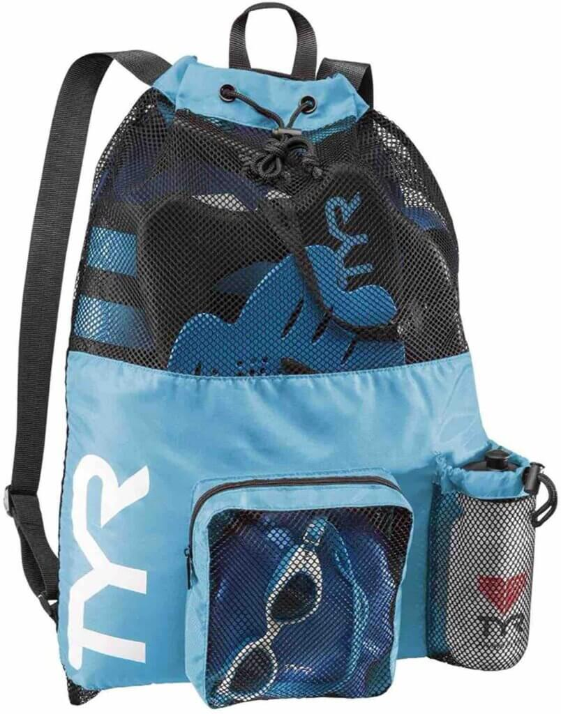 Looking for a beach backpack for kids? Check out this mesh kids beach backpack. Image of a blue mesh gym bag backpack.