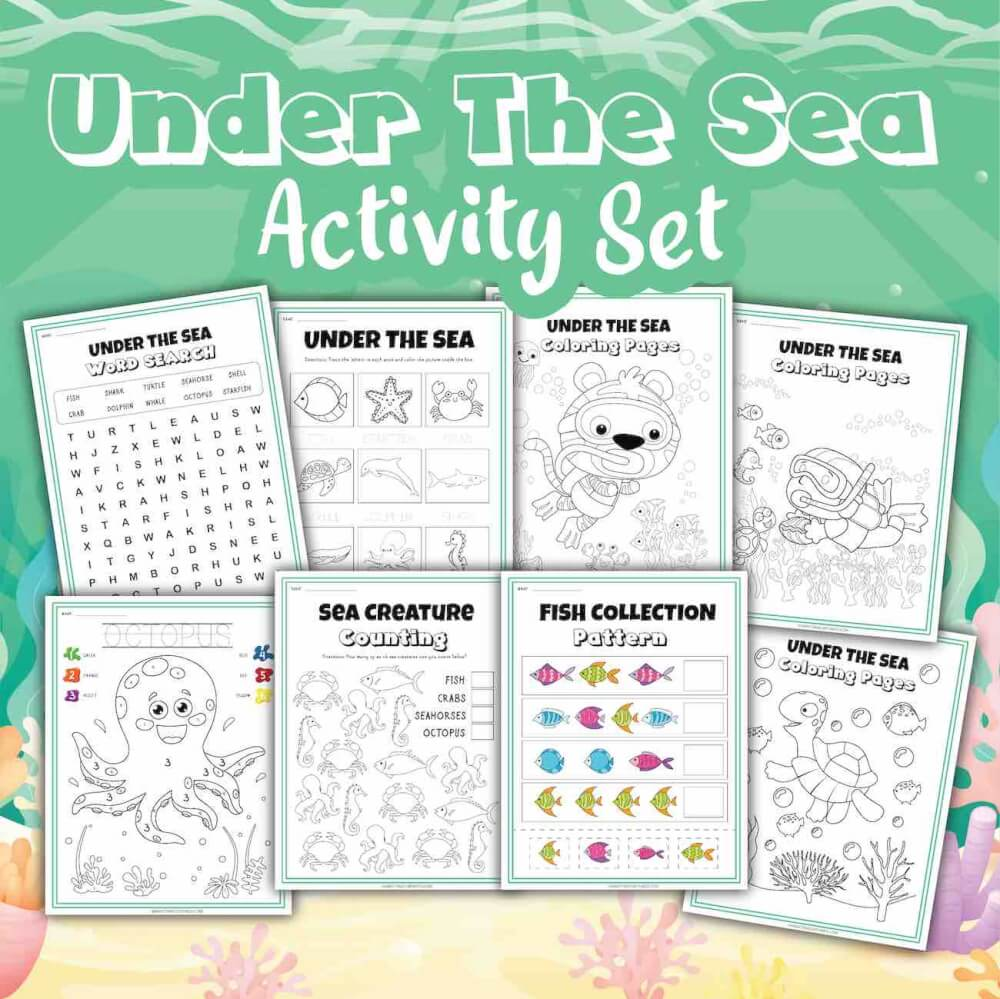 Get these Sea Animal Worksheets by top Hawaii blog Hawaii Travel with Kids. Image of a set of 8 ocean worksheets and coloring pages on a green background