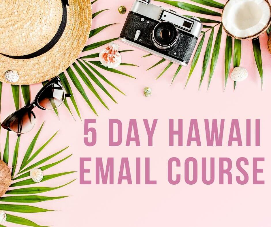 Find out how to travel to Hawaii like a pro with this 5 day Hawaii email course by top Hawaii blog Hawaii Travel with Kids. Image of a tropical flatlay with the words 5 day Hawaii email course on it.