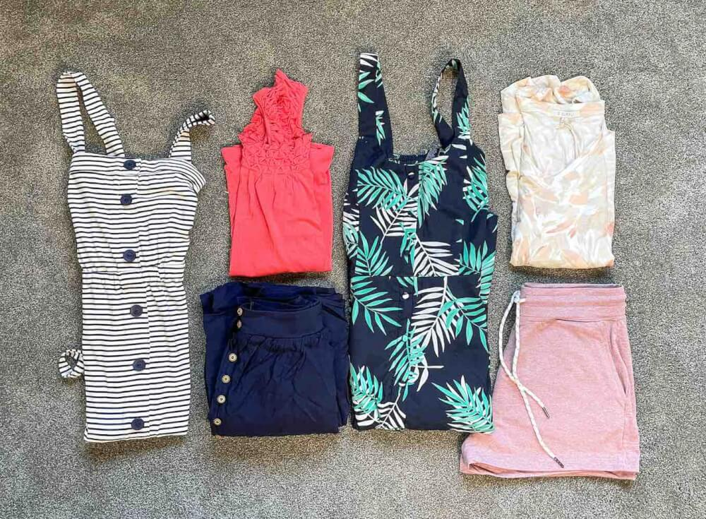 Find out the cutest Hawaii outfit ideas in this Wantable review by top Hawaii blog Hawaii Travel with Kids. Image of folded clothes in a flat lay.