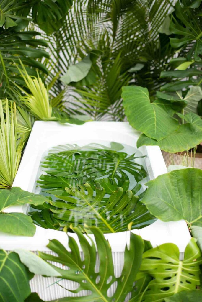 This is the Kauai Jungle Tub set. Image of a white bathtub outdoors filled with monstera leaves and surrounded by green plants.