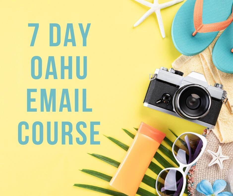 Get my 7 day email course about how to plan a trip to Oahu by top Hawaii blog Hawaii Travel with Kids! Image of some vacation travel items like a camera, sunscreen, sunglasses, and flip flops on a yellow background.