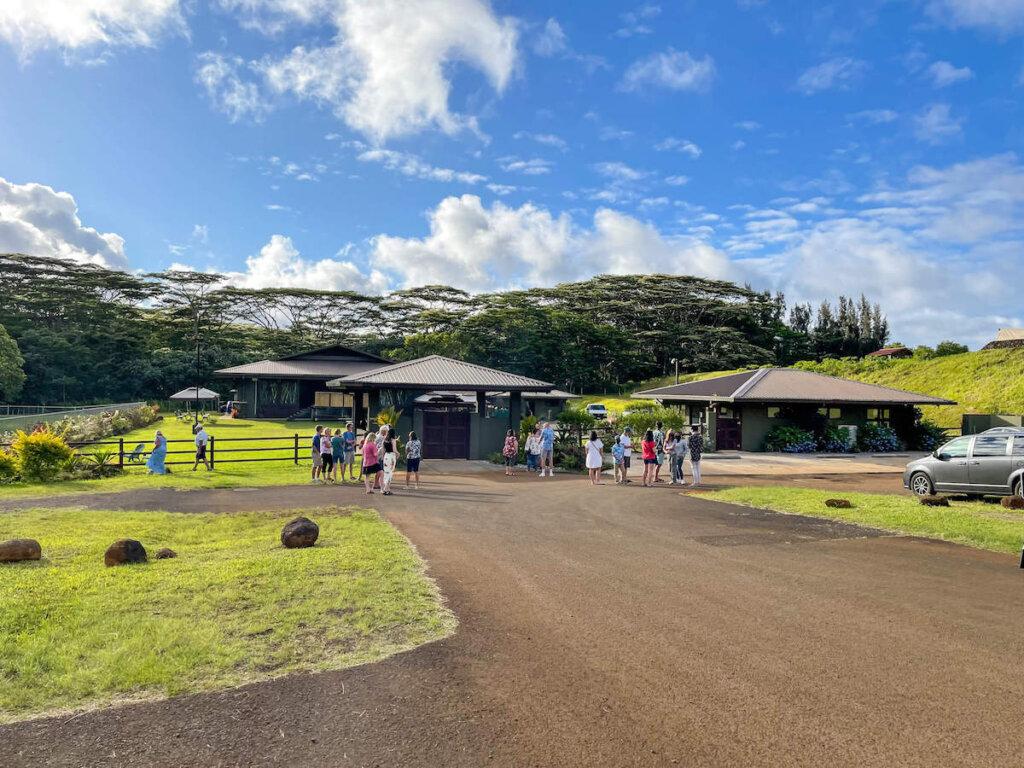The Ahi Lele Fire Show takes place at the Anaina Hou Community Park pavilion in Kilauea Kauai. Image of a road leading to a park pavilion on Kauai.