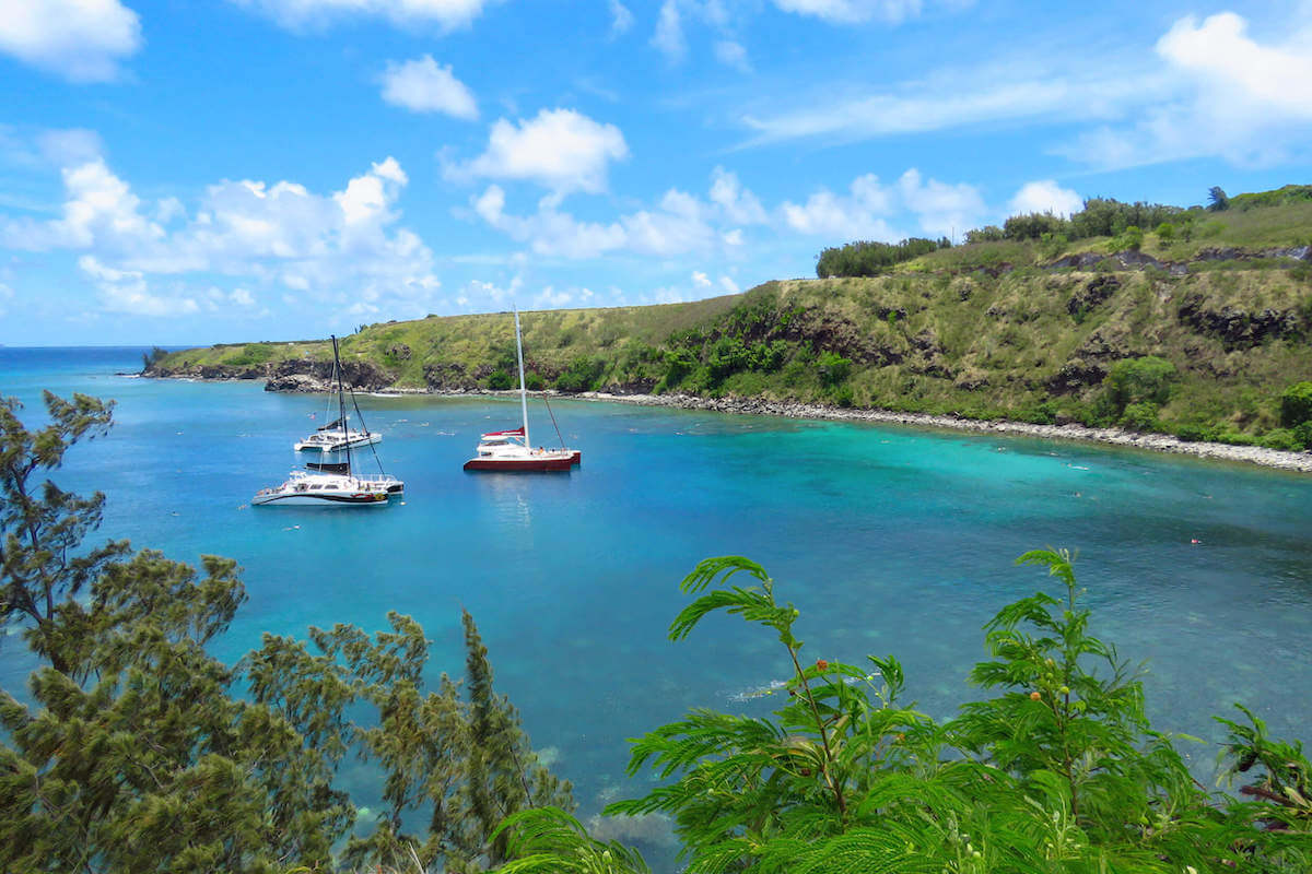 Find out the best Maui boat tours recommended by top Hawaii blog Hawaii Travel with Kids. Image of boats in Honolua Bay on Maui.