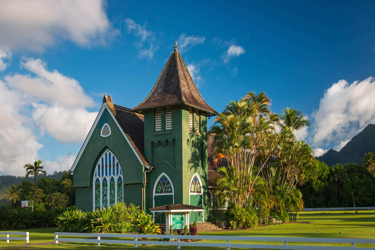 Find out the best things to do in Hanalei recommended by top Hawaii blog Hawaii Travel with Kids. Image of the Waioli Huiia Church in Hanalei.