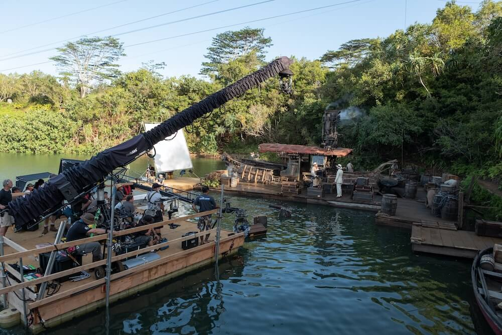 Disney's Jungle Cruise was a movie filmed in Kauai. Image of props at this Kauai filming location on the water in Kauai. Photo by Frank Masi.