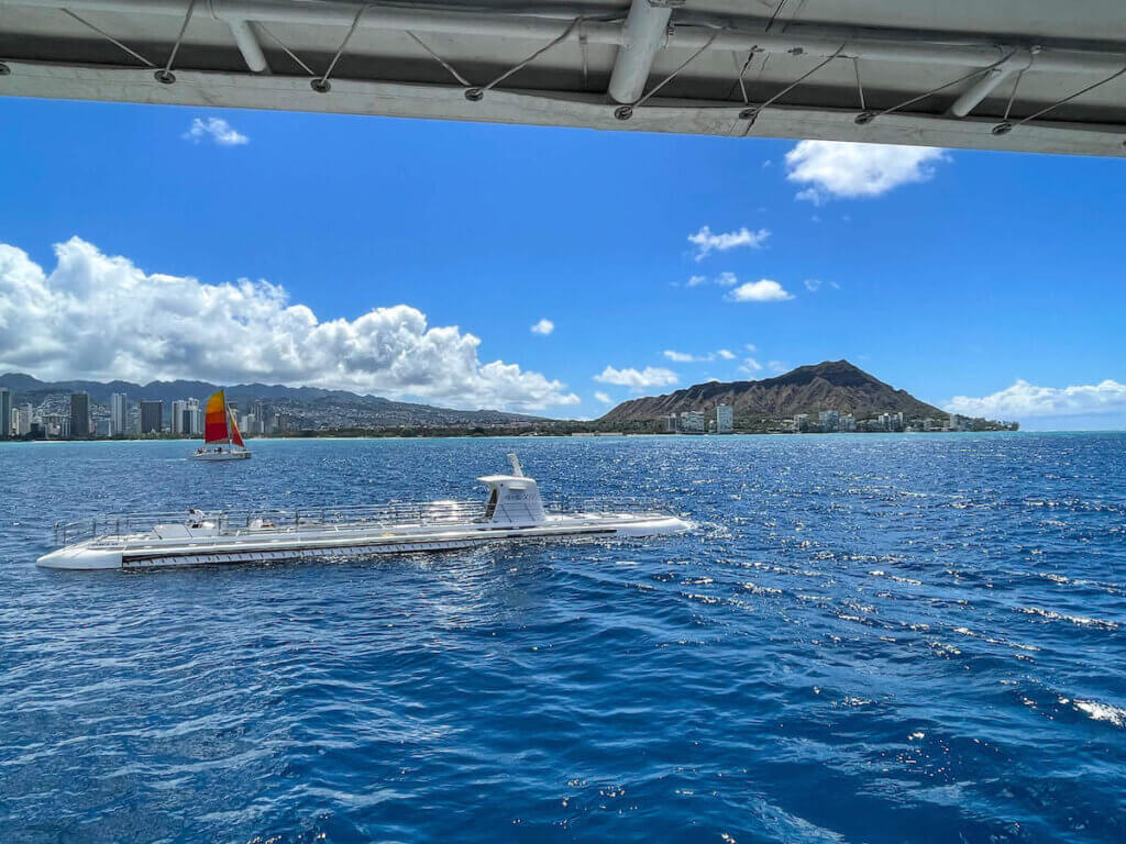 From the Waikiki boat ride, you'll get to see the Waikiki submarine go under water for the next tour!