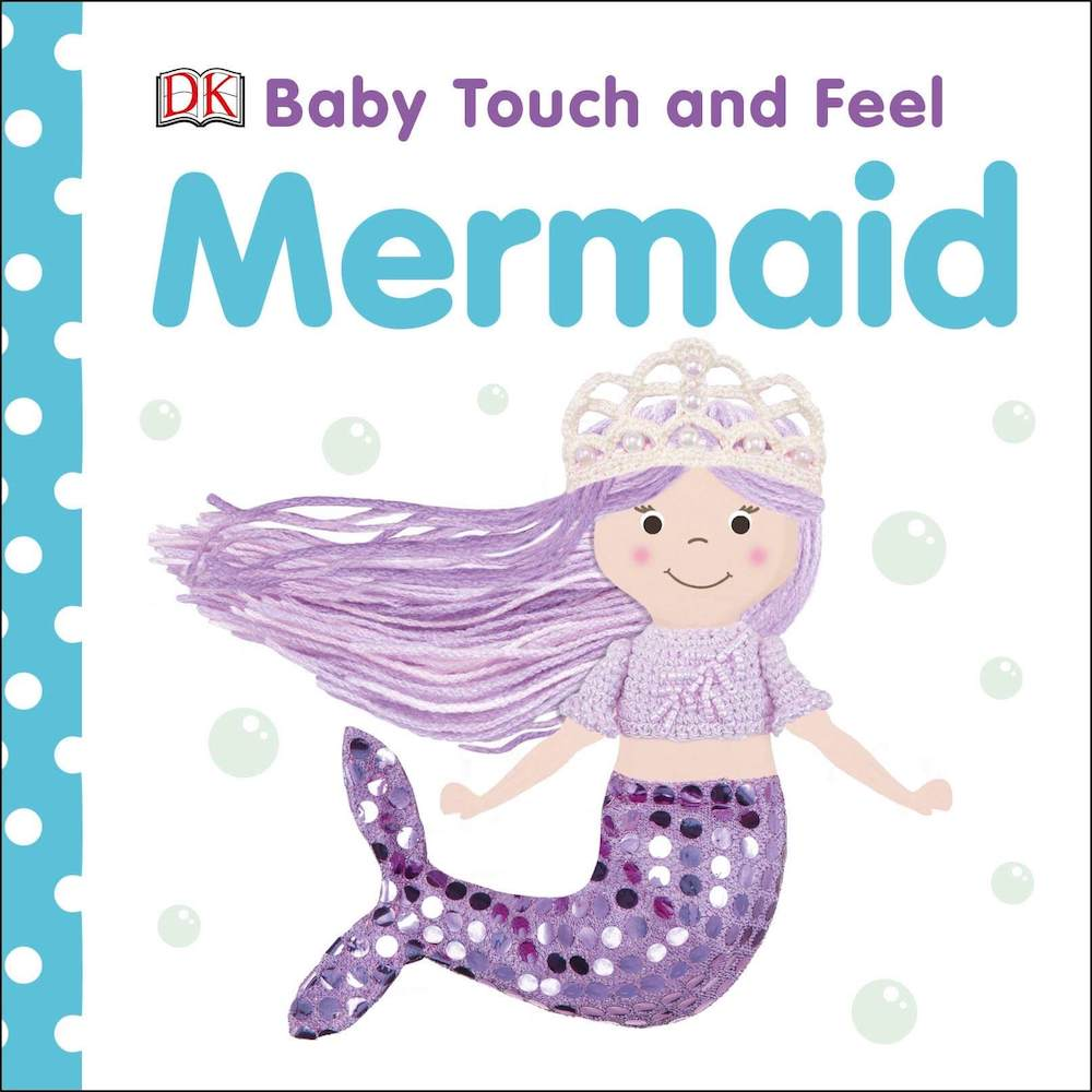 This is a super cute baby board book about mermaids. Image of a book cover with a mermaid doll with a sequined tail on it.