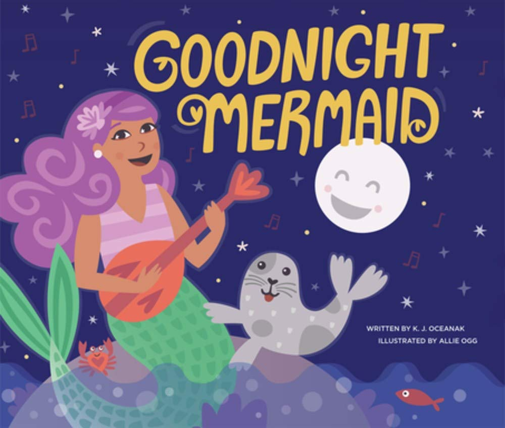 Goodnight Mermaid is a super cute mermaid book for kids for bedtime reading. Image of a book cover with a mermaid playing the ukulele and a seal.