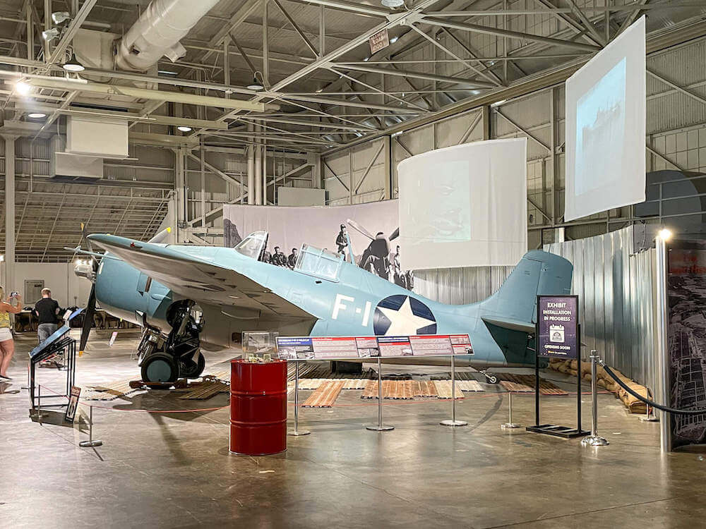 Image of a Grumman F4F-3 Wildcat Fighter plane at the Pearl Harbor Aviation Museum on Oahu.
