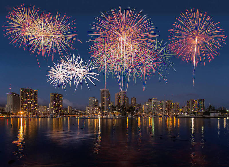 Find out what to do in Hawaii on New Year's Eve. Image of fireworks over Honolulu.