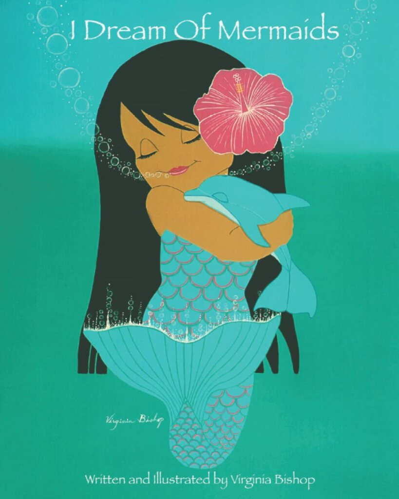 How cute is this Hawaiian mermaid book? Image of a book cover featuring a Hawaiian mermaid snuggling a baby dolphin.