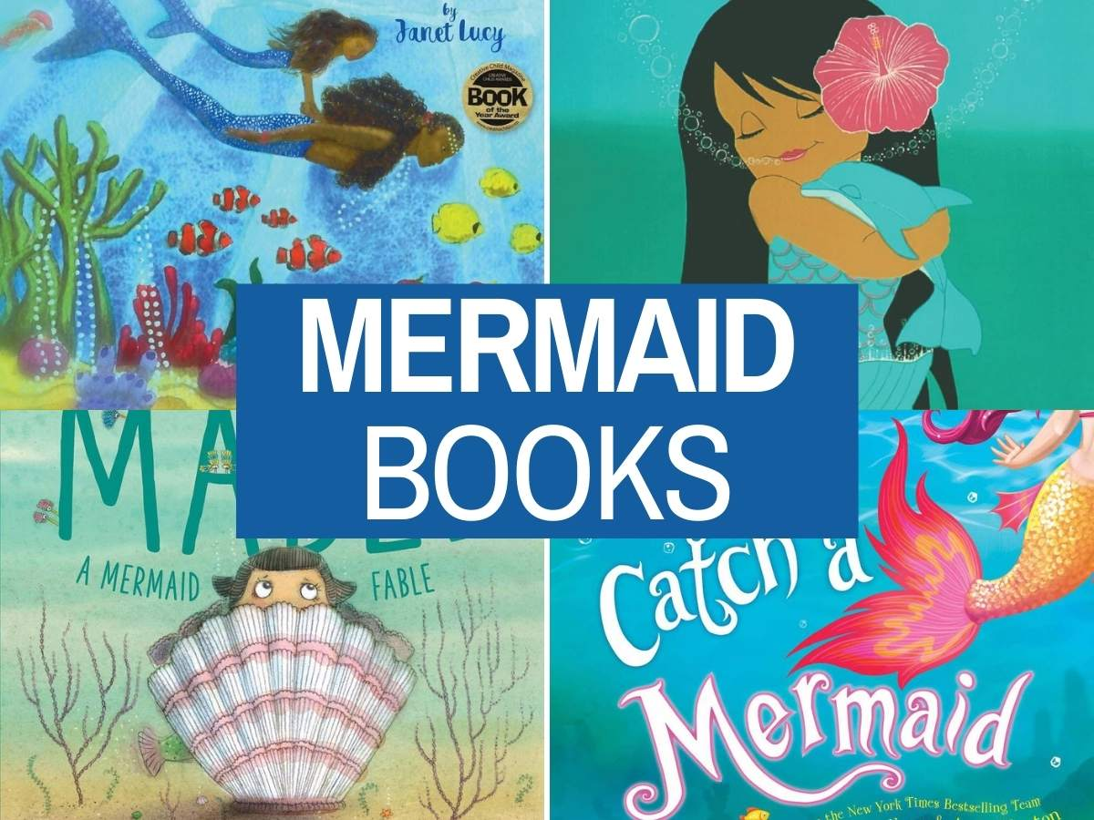 Find out the cutest mermaid books for kids recommended by top Hawaii blog Hawaii Travel with Kids. Image of 4 mermaid children's books.