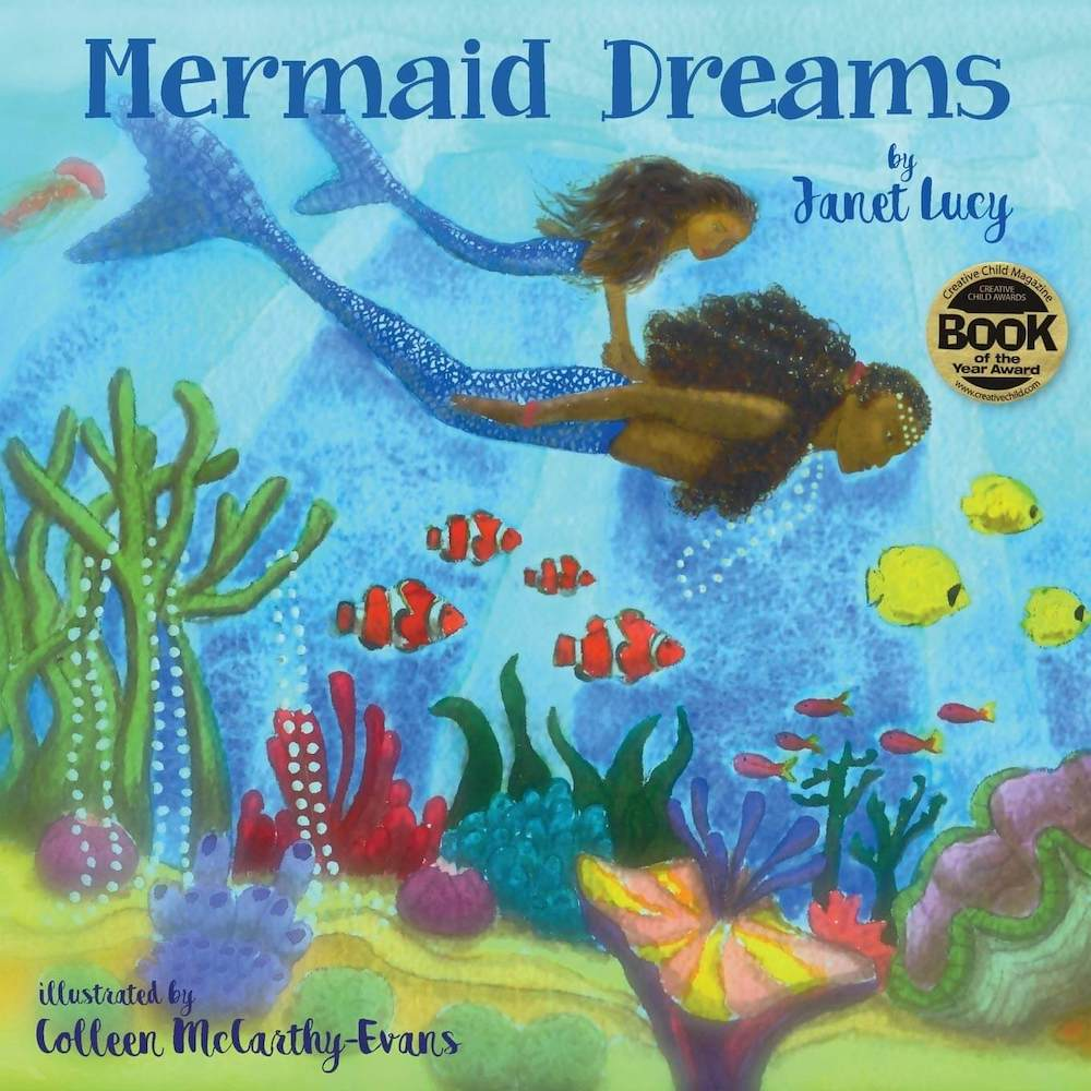 Mermaid Dreams is a kids mermaid book that takes place in the Caribbean. Image of a book cover with an adult mermaid swimming with a child mermaid in a colorful ocean.