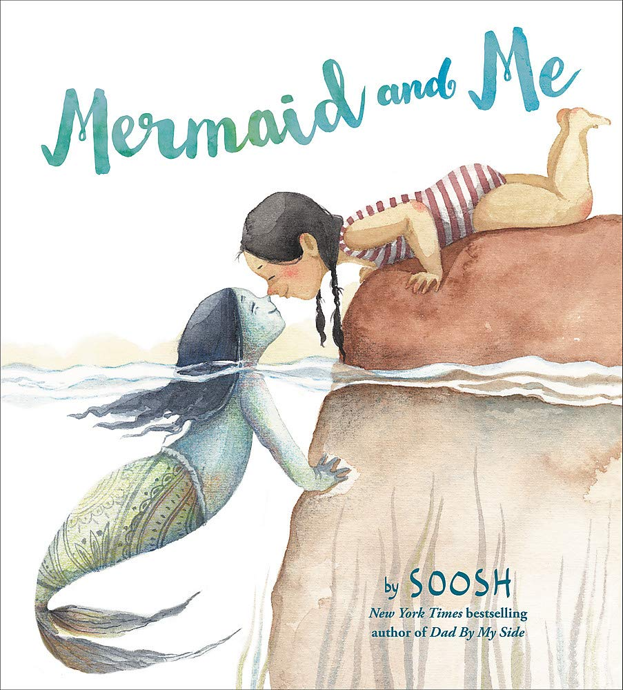Mermaid and Me is a cute mermaid book for kids. Image of a book cover featuring a girl rubbing noses with a mermaid.