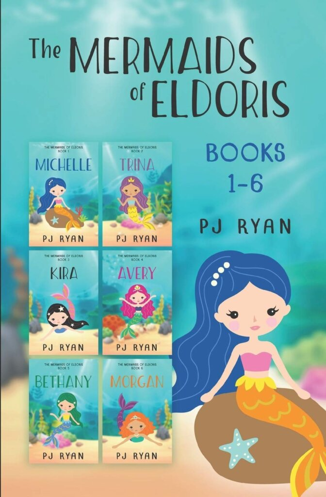 The Mermaids of Eldoris is a kids book series about mermaids. Image of 6 mermaid books.