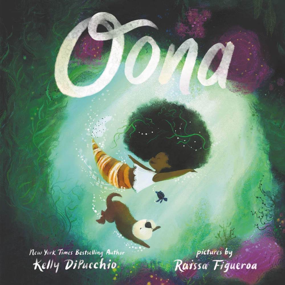 If you're looking for a multicultural mermaid book for kids, Oona is a great pick. Image of a mermaid and her dog in the ocean.