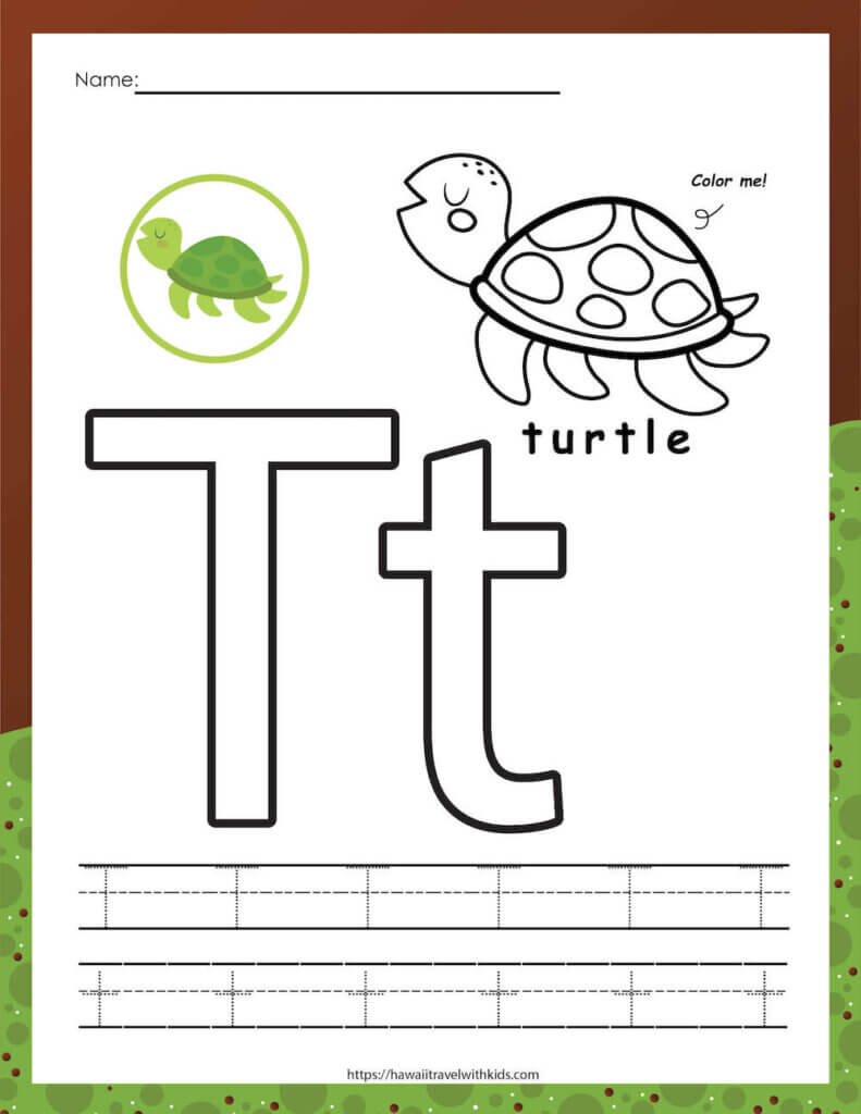 Practice tracing the letter t with this sea turtle printable activity by top Hawaii blog Hawaii Travel with Kids. Image of a sea turtle worksheet featuring the letter t.