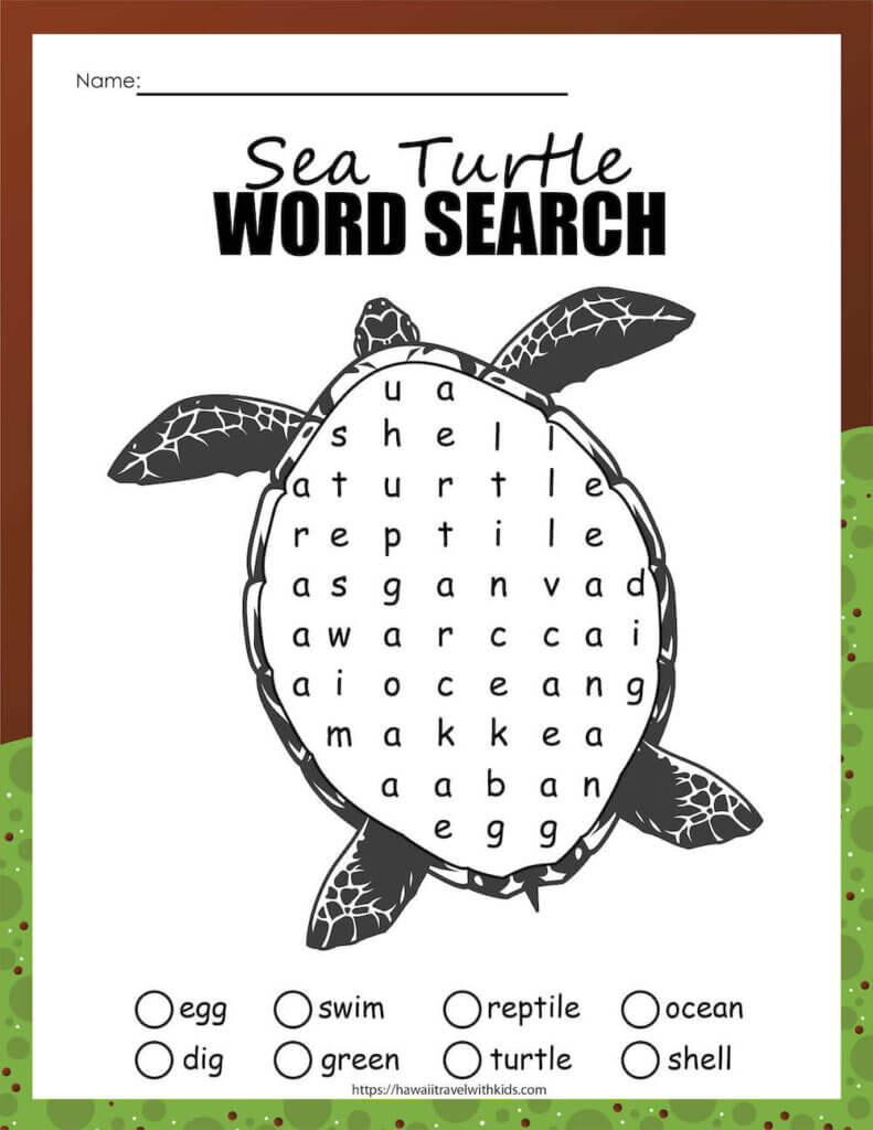 Get this free sea turtle word search activty by top Hawaii blog Hawaii Travel with Kids. Image of a sea turtle word search worksheet for kids.