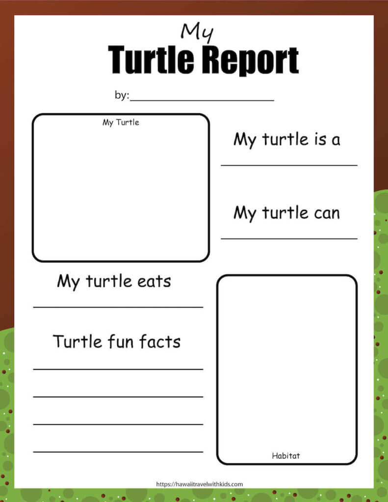 Get this free sea turtle report printable by top Hawaii blog Hawaii Travel with Kids. Image of an empty reporting worksheet where kids draw a picture and write about sea turtles.