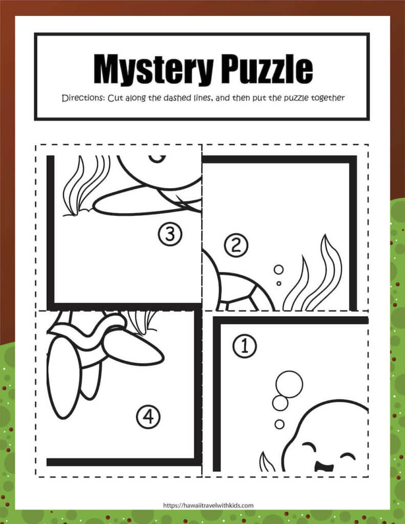 Get this free sea turtle puzzle activity by top Hawaii blog Hawaii Travel with Kids. Image of a cut and paste sea turtle puzzle.