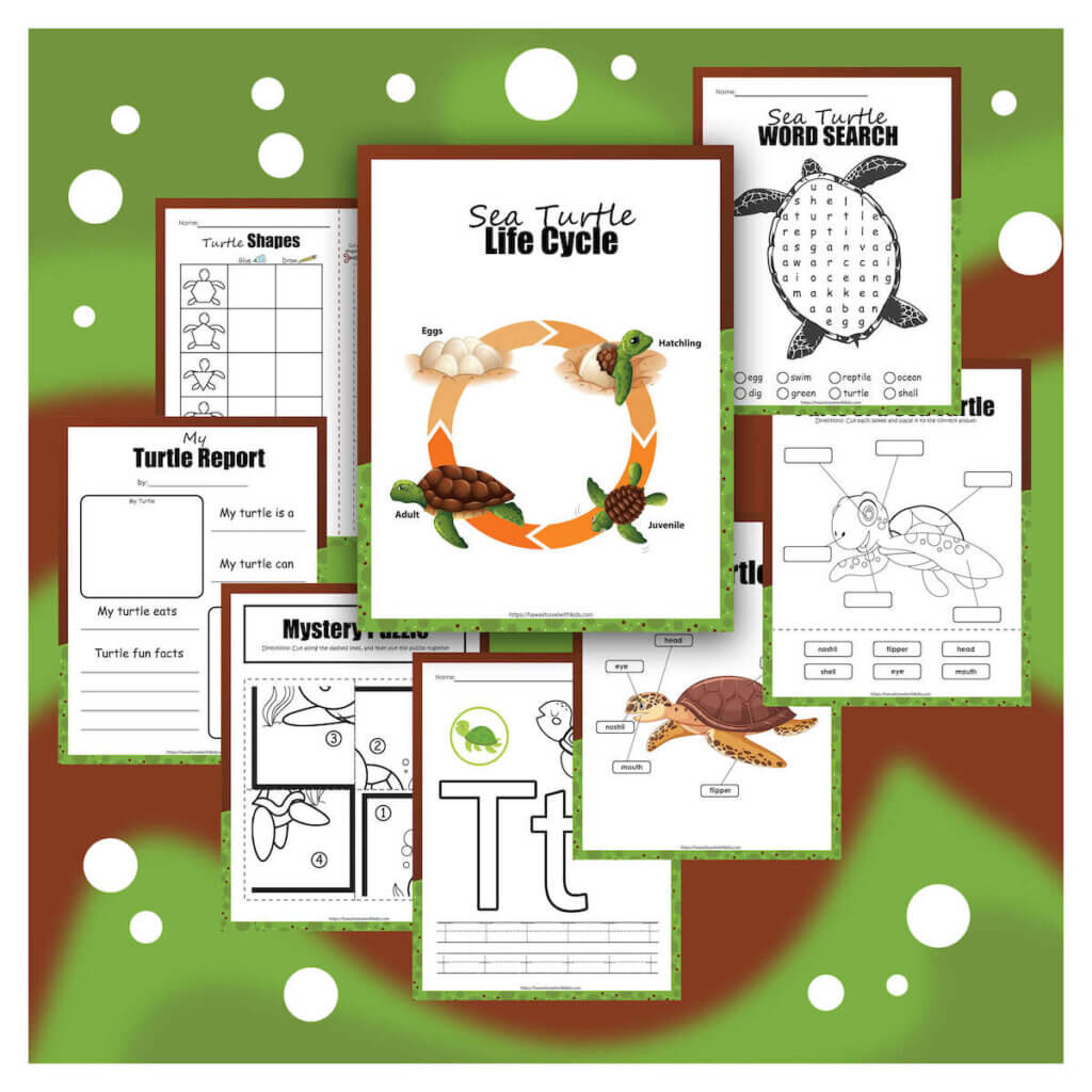 Get this amazing Sea Turtle Activity Pack by top Hawaii blog Hawaii Travel with Kids. Image of several Sea Turtle worksheets and activity pages for kids.