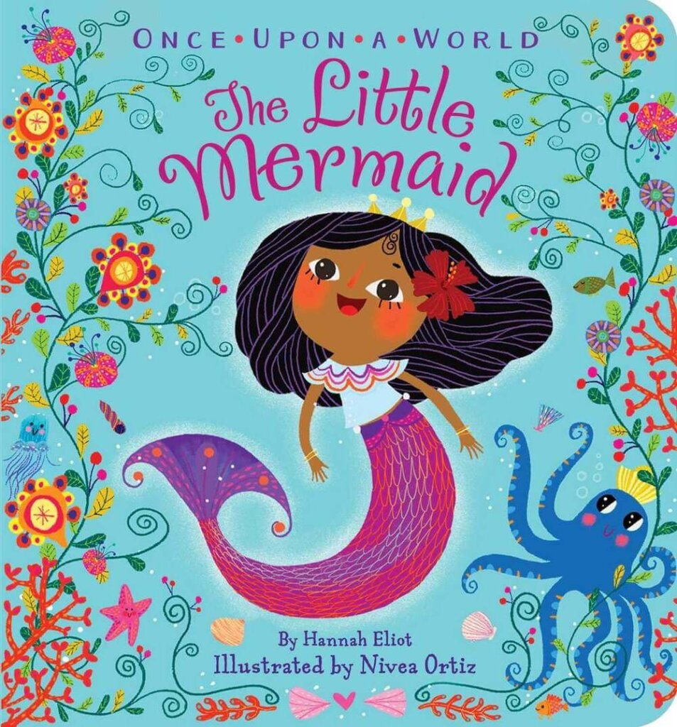 The Little Mermaid board book is perfect for babies and toddlers. Image of a book cover with a mermaid and octopus on the front.