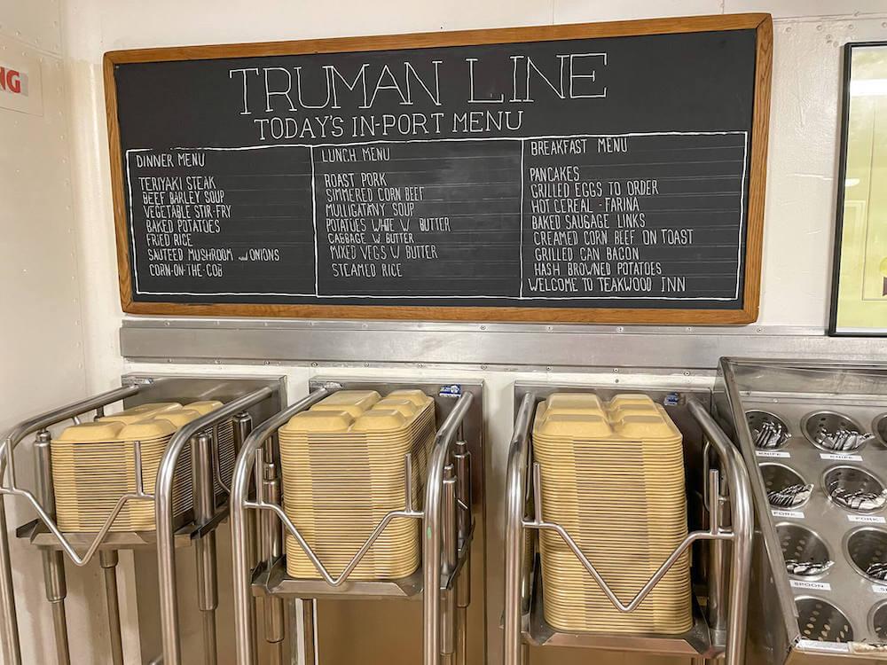 Image of the Truman Line menu of food items served on the USS Battleship Missouri.