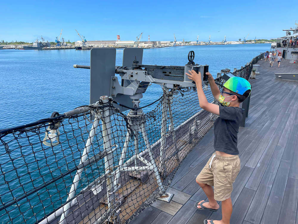 Visiting Pearl Harbor with kids? The USS Battleship Missouri offers a few hands on experiences like getting to move a real gun on the ship.