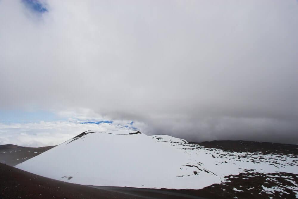Image of snow on the Big Island of Hawaii at Mauna Kea.