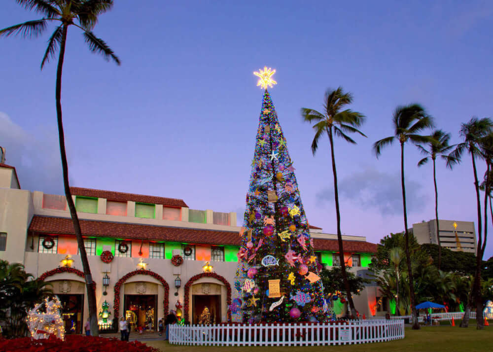Find out where to see Christmas lights in Hawaii by top Hawaii blog Hawaii Travel with Kids. Image of an outdoor Christmas tree in Honolulu.