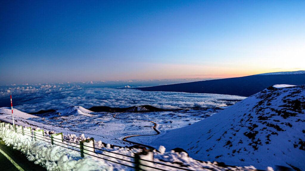 Image of the snowfall at Mauna Kea on the Big Island of Hawaii.