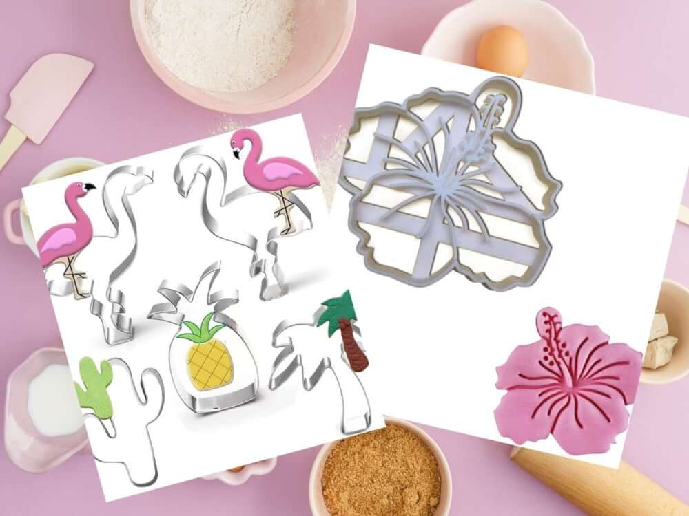 Find out the cutest Hawaiian cookie cutters recommended by top Hawaii blog Hawaii Travel with Kids. Image of tropical cookie cutters like hibiscus flowers, palm trees, and pineapples.