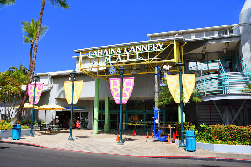 Another great place to shop on Maui is the Lahaina Cannery Mall. Image of the entrance to the Lahaina Cannery Mall on Maui.